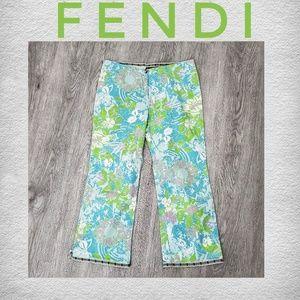 FENDI Blue Green floral Cotton Capri Pants